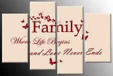 Famiglia preventivo Canvas Picture ROSSO PANNA 4 pannello diviso Wall Art Multi DECOR 100 CM