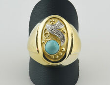 Antiker Ring, Diamant, Türkis, 585 14K Gelbgold, 6 Diamanten zus. 0,05 ct