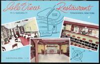 TONAWANDA NY Isle View Restaurant Dining Room Bar Vintage Map Postcard Old PC
