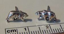 Sterling Silver TINY 6x10mm Grizzly Black Bear Stud Studs Earrings!