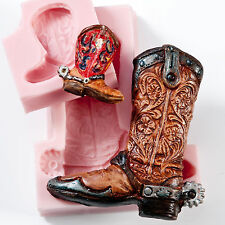 Cowboy Boot Silicone Mold Set Cake Decorating Tool Fondant Craft Clay Wax  (203)