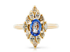 Sapphire 1.50ct & Diamonds 0.60ct. Ring Yellow Gold 18k. UK Used ring Size L1/2