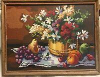 "VIntage Needlepoint Still Life Fruit Flowers Distressed Frame 12 X 16 """