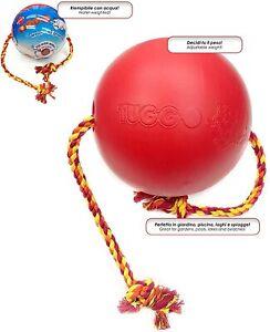 GimDog Tuggo Ball Gioco per Cani in plastica Pesante e Corda di Cotone L 25,4cm