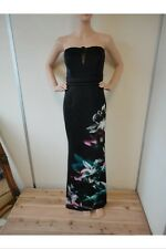 BNWT Ladies Lipsy Black With Large Floral Pattern Evening/Prom Dress - Size 10