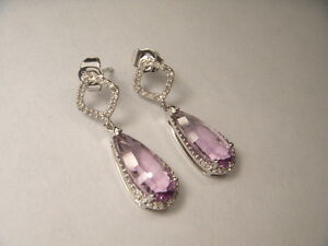 Gorgeous Estate 14K White Gold Diamond Amethyst Dangle Drop Earrings