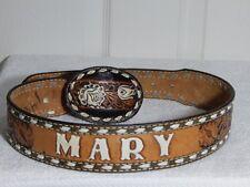 "Vintage cowgirl Brazos Joe western buckle on hand tool ""Mary"" leather belt 25-31"