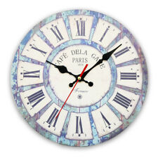 Large Vintage Wooden Wall Clock Shabby Chic Rustic Kitchen Home Antique Style EX