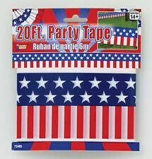 20ft USA Party Tape Decoration - July Stars Stripes 20 Independence 4th