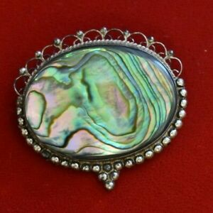 ESTATE Vintage Sterling Guadalupe Mexico Abalone Brooch