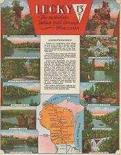 1940s Lucky 13 Motorists Indian Trail Thru Wisconsin Adams-Friendship Tour Sheet