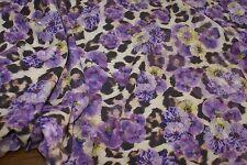 1m x 1.45m - Purple Floral Leopard Med-Weight Stretch Elastane Fabric