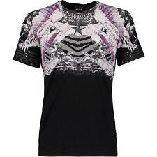 Just Cavalli Negro T-shirt Tamaño Mediano M 100% algodón