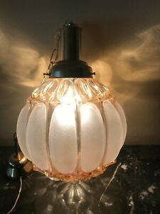 Art Deco pendant light fixture bulbous shape iridescent glass globe 1940