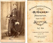 1880's Carte de Visite (CDV) of a soldier in uniform by R Green of Norwich