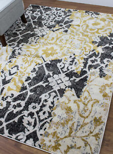 Super Area Rugs Contemporary Modern Ikat Area Rug in Yellow