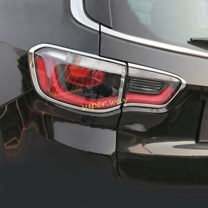 Chrome Car Rear Tail Light Cover Surrounds Lamp Trims For 2017-2022 Jeep Compass