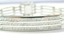 """Men's ID Diamond Bracelet 14KT White Gold 60-Stones 2.26Ct G-VS 8"""""""