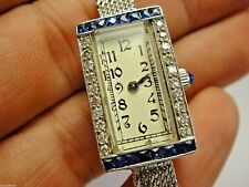 Antique Estate RUNNING Eloga Watch Solid Platinum 14k Gold Diamond Sapphire