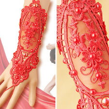 Red Floral Lace Up Beads Slave Bracelet Fabric Bracer Victorian Steampunk Wrist