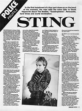 Smash Hits 1980 A4 3-Page Magazine Article Clipping STING, THE POLICE