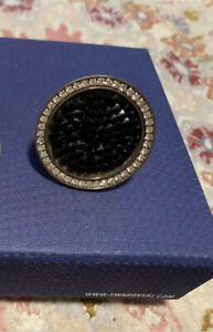 SWAROVSKI Ladies Ring Yellow Gold Plated With Black Stones Size 58