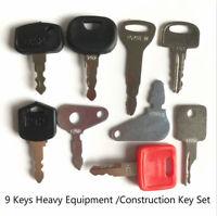 9 Keys Heavy Equipment Construction Ignition Key Set Starter Key
