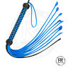Blue & Black Real / Genuine Leather Braided Flogger 09 Tails whip Heavy Duty