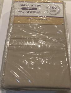King Pillowcases Taupe 200 TC 100% Cotton
