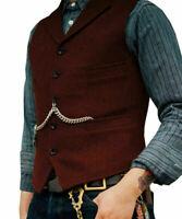 Men Retro Tweed Waistcoat Vest Wool Blend Herringbone Notch Lapel Slim Fit Gilet