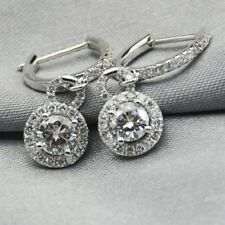 6.5mm Solitaire Halo Moissanite Leverback Drop Dangle Earrings 14k White Gold GP