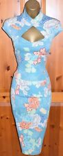 KAREN MILLEN Exquisite Aqua Turquoise Oriental Corset Cocktail Dress UK 10