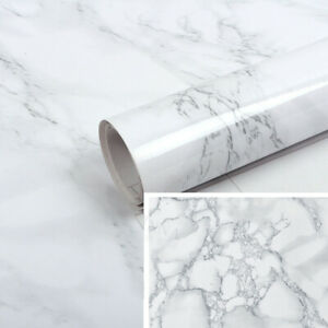5M Glossy Marble Vinyl Film Wrap Sticky Back Kitchen Self Adhesive Sticker Cover