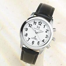 T&J DA UOMO RADIOCONTROLLATO ATOMIC parlando orologio con cinturino in pelle nera