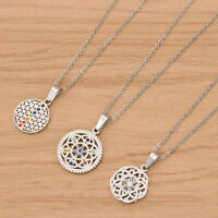Men Vintage Silver Flower Of life Pendant Unisex Necklace Stainless Steel Gift