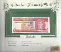 World Banknotes Barbados 1973 1 Dollar UNC P 29a Prefix F Birthday 9920045
