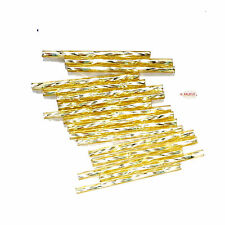 Stiftperlen Bugle Beads gedreht/ twisted 35x2mm gold Silbereinzug PRECIOSA 5g