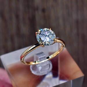 2.00 Ct Round Cut Diamond Engagement Wedding Ring 18K Yellow Gold Size N O P