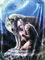 Anne Stokes Fantasy Silk Touch Sherpa Lined Wolf Throw Blanket - Protector