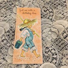 Vintage Greeting Card Birthday Farmer Girl Overalls Hallmark Fishing