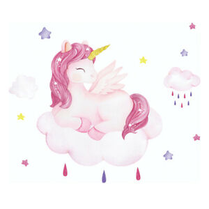 REMOVABLE LOVELY UNICORN WALL STICKER DECAL BABY KIDS GIRLS ROOM MURAL