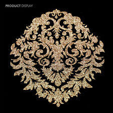 10 Gold Embroidered Stickers Decals Iron On Applique Scrapbooking Patches TH46