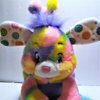 Popples Pixie Doodle Plush 2001 Neon Rainbow Tie Dye Stuffed Toy Vintage