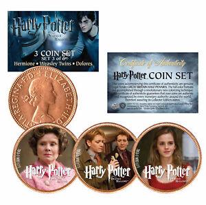HARRY POTTER Deathly Hallows Licensed British UK Half Penny 3-Coin Set (Set #3)