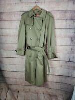VTG BARACUTA Mens 38 Regular Tan Full Length Belted Trench Coat w Zip In Lining