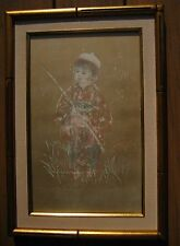 Hibel Japanese Boy and Girl RARE and UNIQUE Lithograph Suite.  Signed and Framed