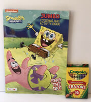 Sponge Bob Square Pants Jumbo Coloring & Activity Book + Crayons Boys Art Kids