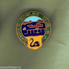 #D1.  DAMPIER    BOWLING  CLUB LAPEL   BADGE,  REPLACED CLIP, BOAT & SWAN