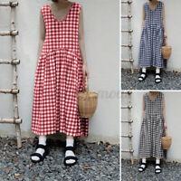 ZANZEA UK Womens Bohemian Sundress Sleeveless Check Dress Midi Dresses Plus
