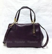 Coach 49720 Madison Leather MINI Satchel Crossbody Bag BLACK VIOLET Purple NWT